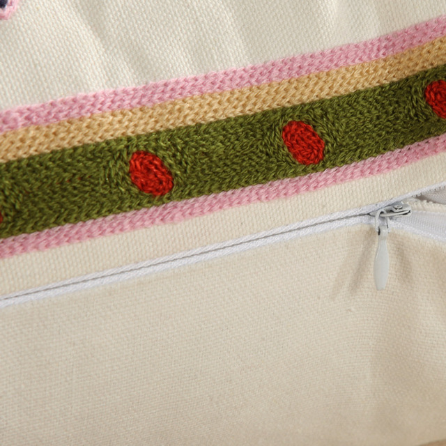 1Pcs Embroidery Elephant Flower Pattern Cotton Pillow Cushion Cover Home Decor Sofa Bed Decor Decorative Pillowcase 40152