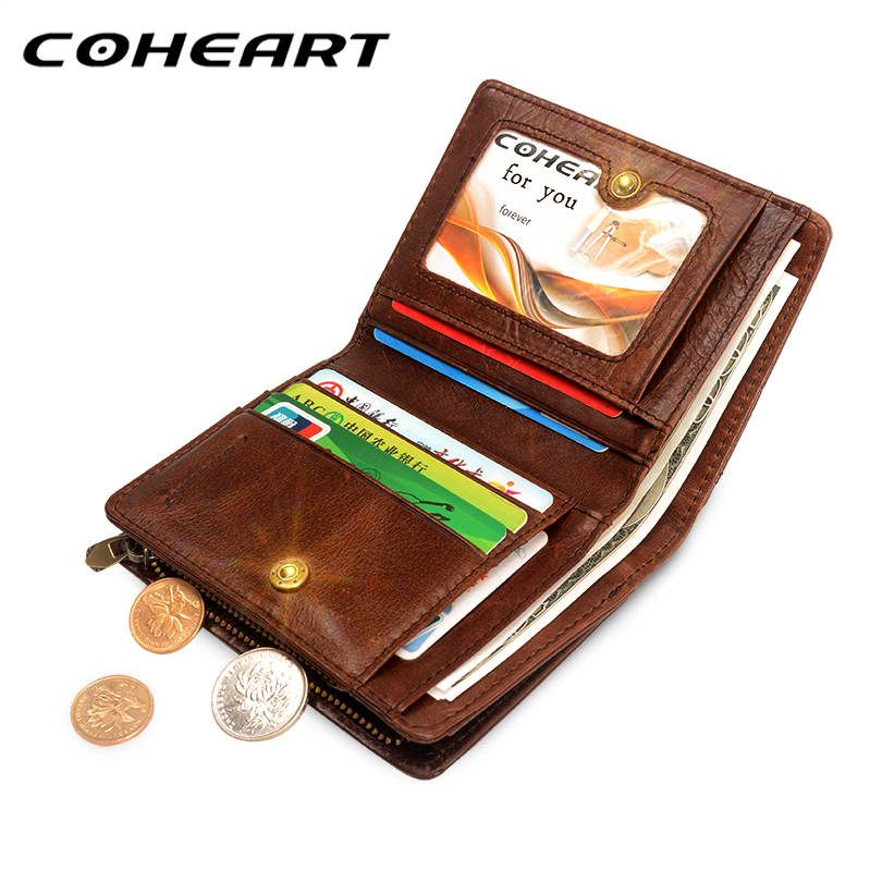 COHEART 100 Genuine Leather Wallet Men Cowhide Top Quality Real Leather Men Wallets Purse Multifunction Pactical