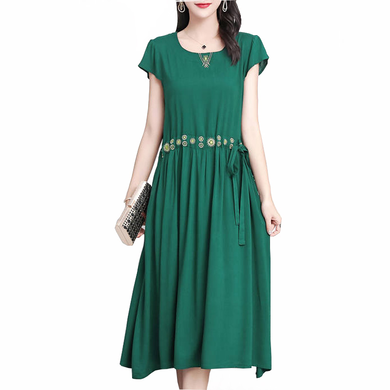 Vintage Women Summer Dresses Casual Loose Dress Solid Short Sleeve Boho  Long Dresses Plus Size Retro Vestido Mujer
