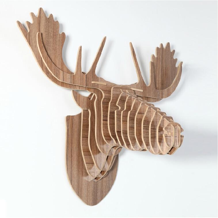 Christmas decorations,3D DIY wood wooden craft,wall deer,moose head ...