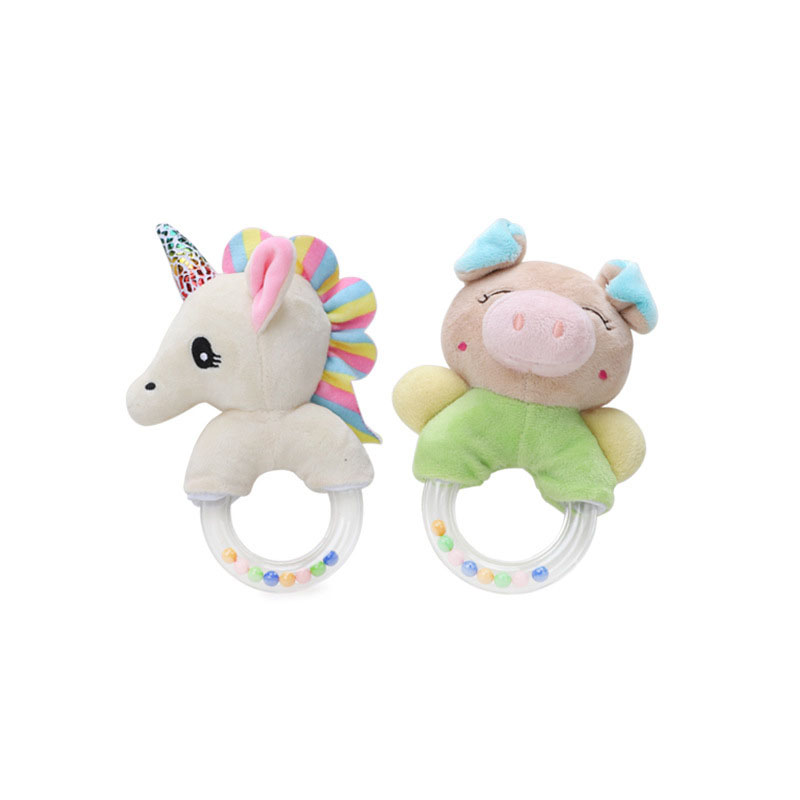 Baby Toys 0 12 Months Animal Shape Baby Rattle Hand Bells Cute Pig Horse Elephant Monkey Early Education Toys For Newborns