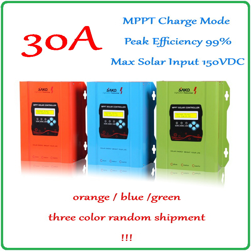 SAKO 30A MPPT Solar Charge Controller 12V 24V 48V Auto-work LCD Display with 99% peak efficiency PV Panel Battery Regulator 450w mppt hybrid controller 300w wind turbine 150w solar panel 12v 24v auto work battery charge regulator solar systen