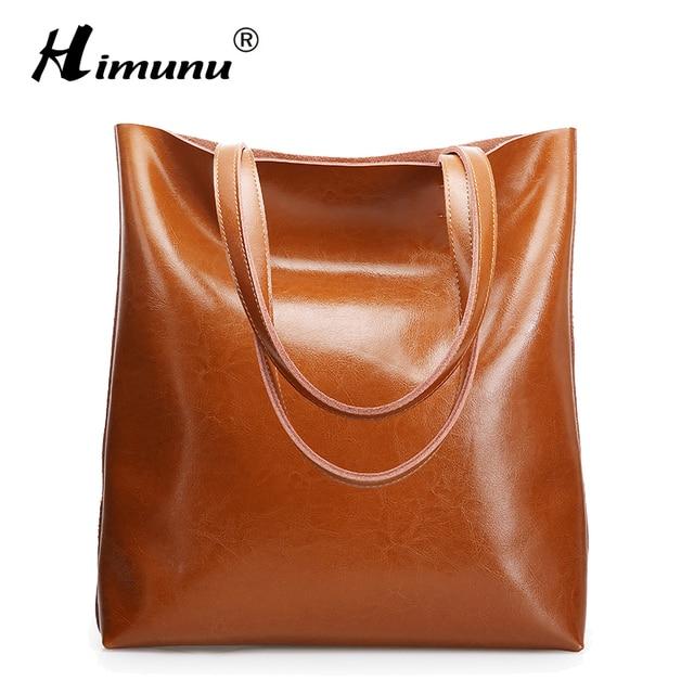 0bf90795c47cc Duże torby kobiet torebki prawdziwej skóry Oil Wax wołowej torebki Lady  prawdziwe skórzane torby listonoszki hojny