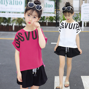 Image 3 - Summer Children Clothing Sets For Girls 2019 Fashion Letter Print Tshirts Tops Shorts Teenage Clothes 2Pcs Kids Suit 10 12 Years
