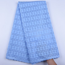 Sky Blue African Lace Fabric 2019 High Quality Swiss Voile Lace In Switzerland African Tulle Lace Materials For Man 1599 cheap SJD Lace 120cm Mesh 100 Polyester Eco-Friendly Embroidered Rhinestones