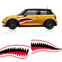 1 Pair Shark Mouth Car Vinyl Sticker Exterior Side Door Decal For Mini Cooper JCW Countryman