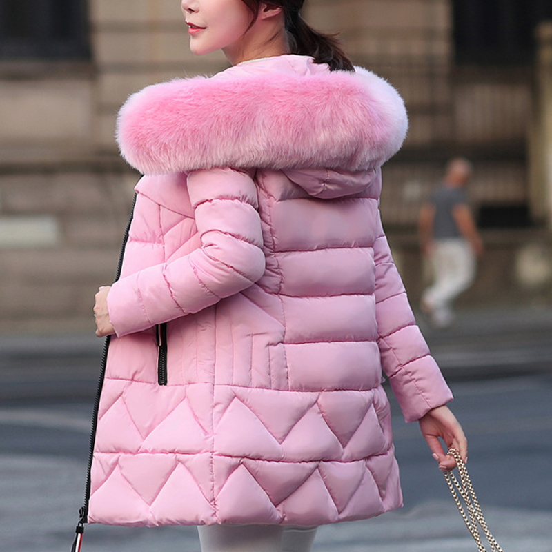 2019 New Simple Winter Fashion Female SlimThickening  Jacket Coat Long Section Cotton Parka Thick Suit Women