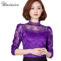 New 2017 Spring Lace Bottoming Shirt Women Shirt Slim Korean Style Fashion Full Sleeve O-neck Red Black Shirt Women Plus Size