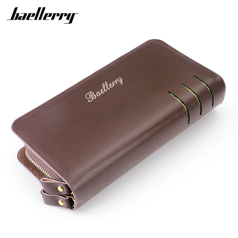 Baellerry Business Style Long Clutch Wallet Man Double Zippers Men's Leather Bag Male Purse Phone Pocket Large Capacity Carteira