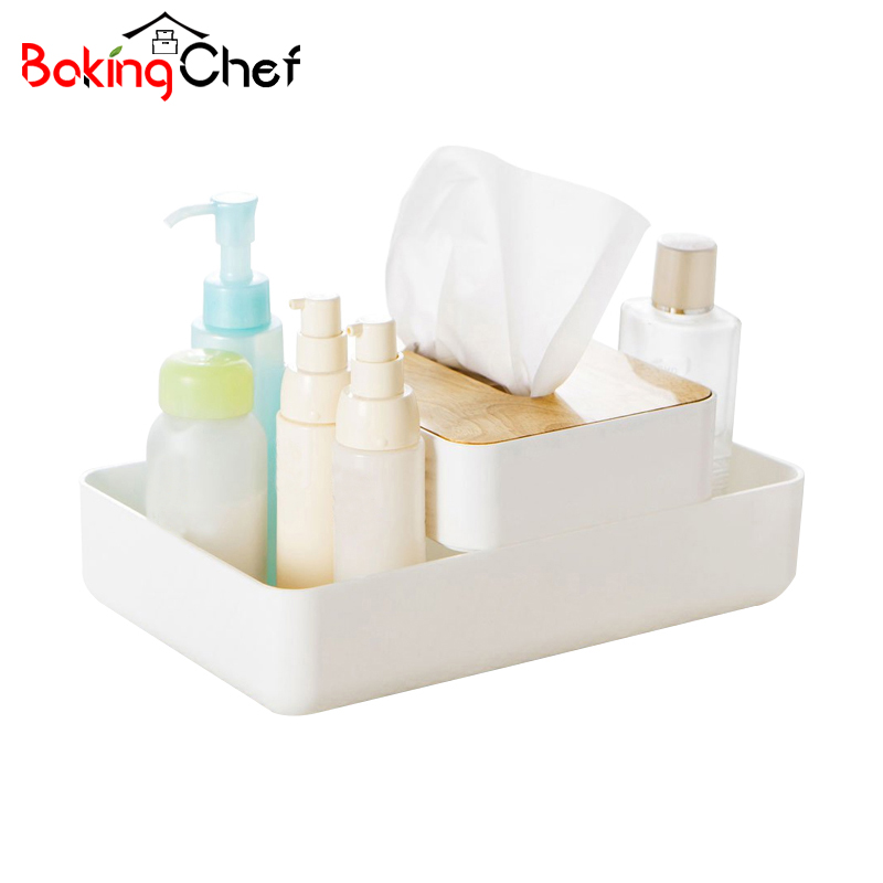 BAKINGCHEF Fashion Desktop Cosmetic Storage Boxes With Makeup Tissue Paper Container Case Home Office Sundries Gear Organizer