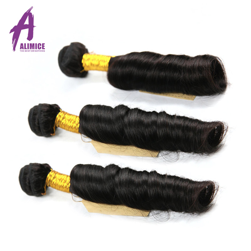 Indian Bouncy Curly Hair 3 Bundles 100% Human Hair Weaves Bundles Natural Color Hair Weaving Alimice Non Remy Hair Extensions