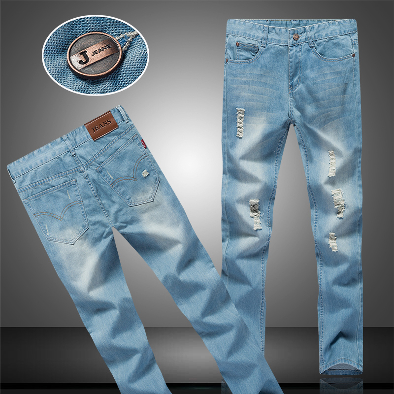 Jeans Cotton Men Blue 2017 New Fashion Business Casual Male Jeans Elasticity Left Rom Hot Boys Popular Good Trousers Size 28-38