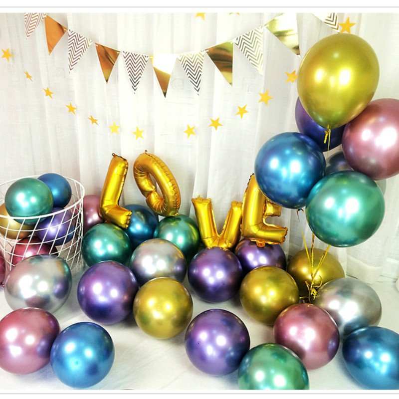 <font><b>50</b></font> Pieces of 12 Inch Chrome Metal Inflatable Latex Balloon Baby Shower Ramadan Birthday Party Decoration image