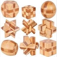 Hot Sale 9 PCS 3D Wooden Interlocking Burr Puzzles Game Toy For Kids New Excellent Design