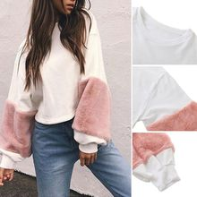Spring Autumn Faux Fur Hoodies Sweatshirt Casual Oversize White Sweatshirt Women Jumper Patchwork Long Sleeve Pullover