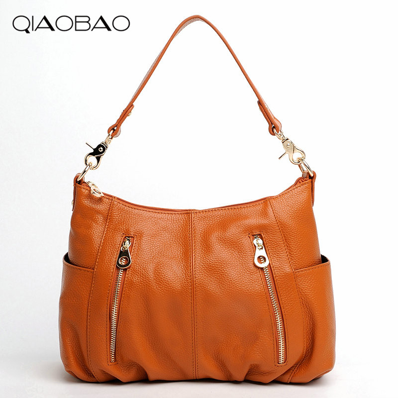 QIAOBAO 100% Genuine leather bags female Cowhide Women shoulder bags handbags female luxury handbags women bags designer bag 2017 autumn and winter new women genuine leather handbags female bags oil wax cowhide handbags fashion shoulder messenger bags