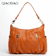 QIAOBAO 100% Genuine leather bags female Cowhide Women shoulder bags