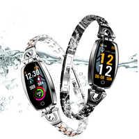 Smart Bracelet H8 HR Blood Pressure Turn Light Dynamic Screen Women Diamond Heart Rate Monitor Smart Watch Bracelet PK Z18