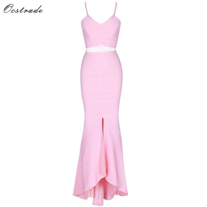 Ocstrade Pink Strapy Sleeveless High Quality Long Bandage Dress HJ674 Pink