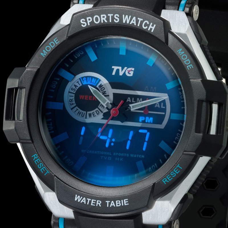 TVG 2018 Men Sports military digital Watch Army wristwatch Blue LED Pointer 30AM Waterproof Vibration Alarm Watch C1307 COOL!!!