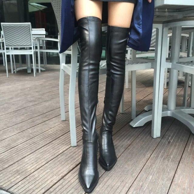 2018 新靴の女性のブーツ黒膝のブーツセクシーな女性秋冬女性の腿ブーツ