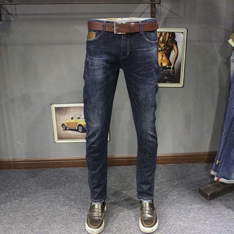 ФОТО 2017 Spring New Fashion Mens Stretch Denim Jeans Slim Fit Boot Cut Darked Wash Jeans Distressed Jeans Ripped Vintage Pants 607