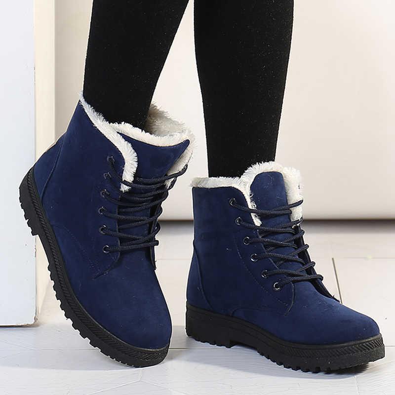 Kadın botları 2018 yeni kadın kış çizmeler sıcak kar botları moda yarım çizmeler kadın ayakkabı için kış rahat topuklu Botas Mujer
