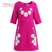 Pettigirl Girls Dress Summer Hot Pink Baby Girl Clothes Floral Kids Clothing Embroidery GD90305-663F