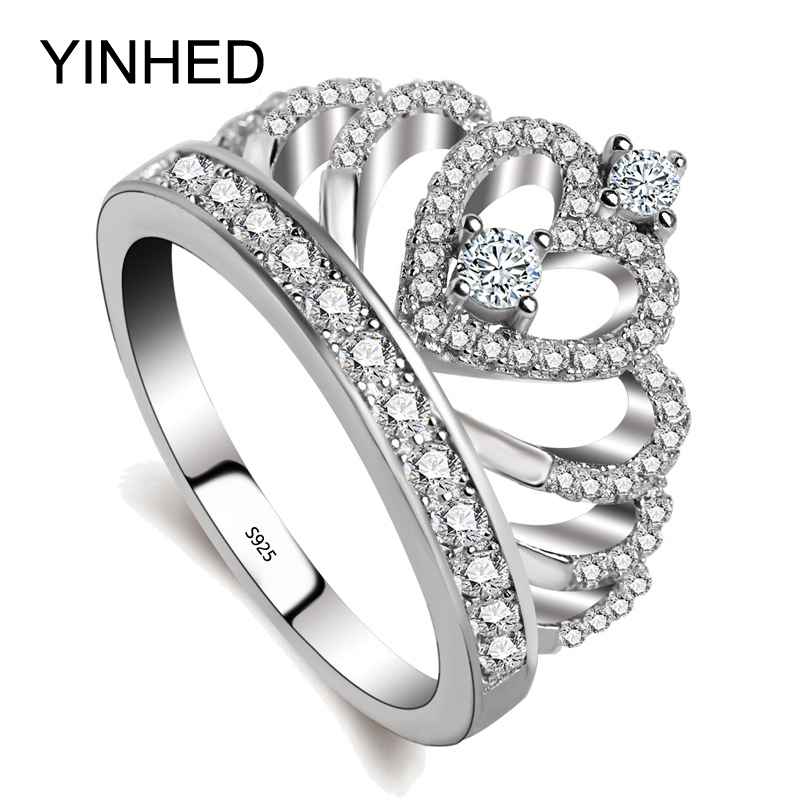 YINHED Hot Sale Crown Ring Genuine 925 Sterling Silver Engagement Ring Inlaid AAA Zircon CZ Diamant