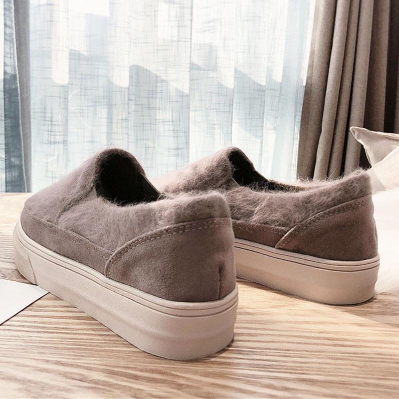 Chaussures Plate En Appartements Black De khaki Dames Casual Femme Daim Hiver Printemps forme Mocassins 2019 Fourrure Mujer Doux Zapatos z0xOER