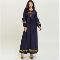 Large size women's embroidered long sleeved casual Arabian dress long skirt, elegant dress Heporen Garment drop shipping