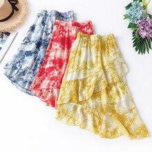 Wasteheart Summer Yellow Women Skirt High Waist Long Mid-Calf Casual Printed Chiffon Sexy Asymmetrical Skirts
