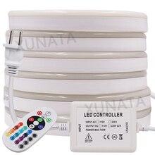 220V 110V RGB Flex LEDนีออน 5M 25M 50M 100mในร่มกลางแจ้งสำหรับDecor Holiday PARTYสีฟ้าสีเหลืองสีขาวEU/US/UK/AU Plug