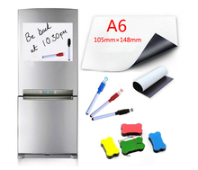 Magnetic White board Fridge Magnets A6 Size 105mmx148mm Dry Wipe Board Writing Record Marker Pen Eraser