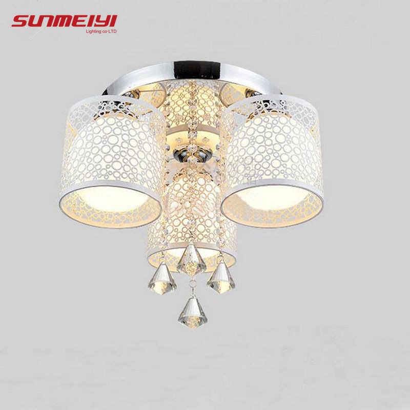2019 новый круглый светодиодный потолочный светильник с кристаллами для гостиной, лампа для дома с дистанционным управлением