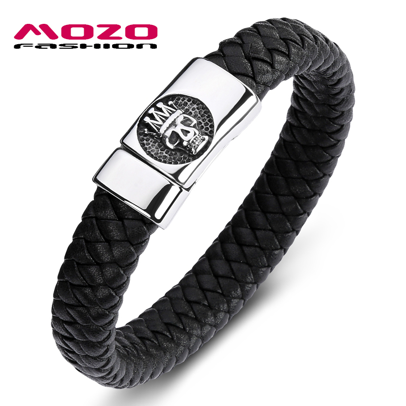 MOZO FASHION Classic Men Bracelet Black Leather Stainless Steel Magnet Buckle Bracelet Man King of skulls Punk Jewelry PS2090