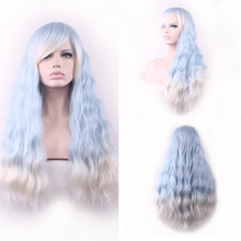 Fashion Lolita Corn Blanching Long Wavy Light Blue White Ombre Wig Cosplay Costume Party Wigs For Women High Temperature Fiber black and white ombre long wavy side bang synthetic fashion lolita harajuku cosplay wig for party