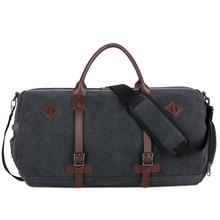 Men Vintage Large Capacity Overnight Bag Casual Luggage Bag with Shoes Holder Waterproof Canvas Duffel Bag Travel Weekend Bag недорого
