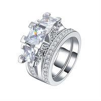 925 Sterling Silver Victoria Wieck Princess Cut Three Stone 8ct Topaz Simulated Diamond Women Engagement