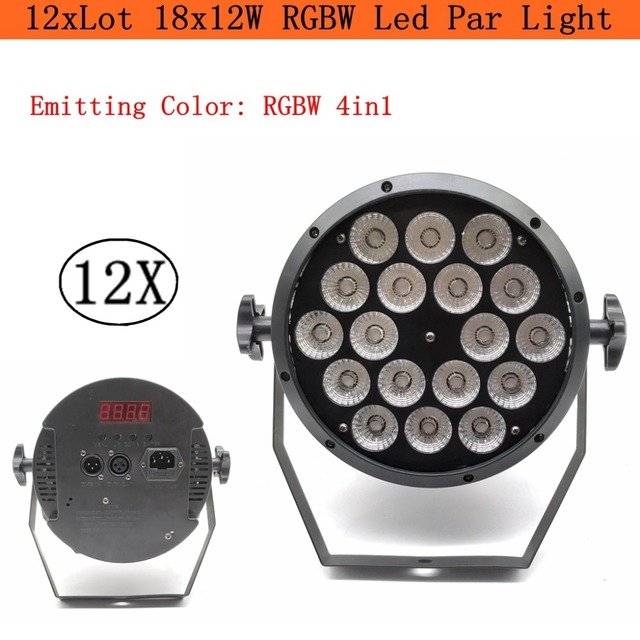 12 unids/lote LED 18x12 W RGBW Par etapa luz con DMX512 para Disco de DJ para proyector máquina de decoración de fiesta iluminación de escenario