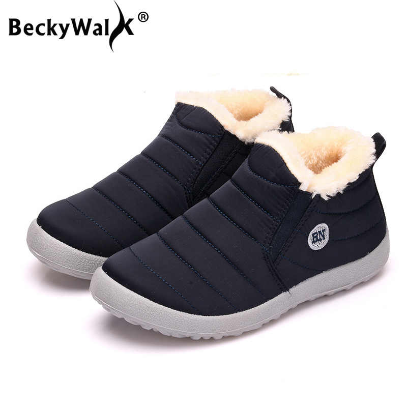 Big size 35-44 plush women shoes winter couple unisex snow boots warm fur casual boots women slip on mother winter shoes WSH3139