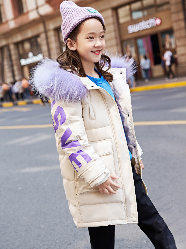 2018 Girls Winter Down Jacket Warm Thick Outwear Kids Coat Christmas New Year Gift Cloth for Teens Age 56789 10 11 12 Years old 2017 autumn girls blouse ruffle hem flare sleeves blue striped letter design for teens at age 56789 10 11 12 13 14t years old