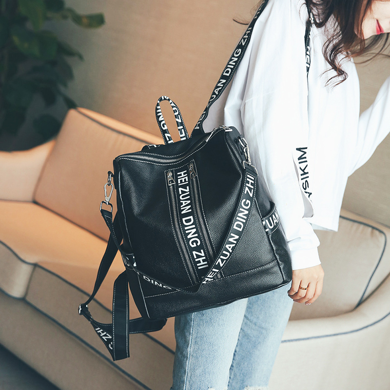 5451a7b068 Amarte Women Leather Backpacks 2017 New Designletter Printing Backpack for  Teenager Girls Fashion Casual Backpack Big School Bag-in Backpacks from  Luggage ...