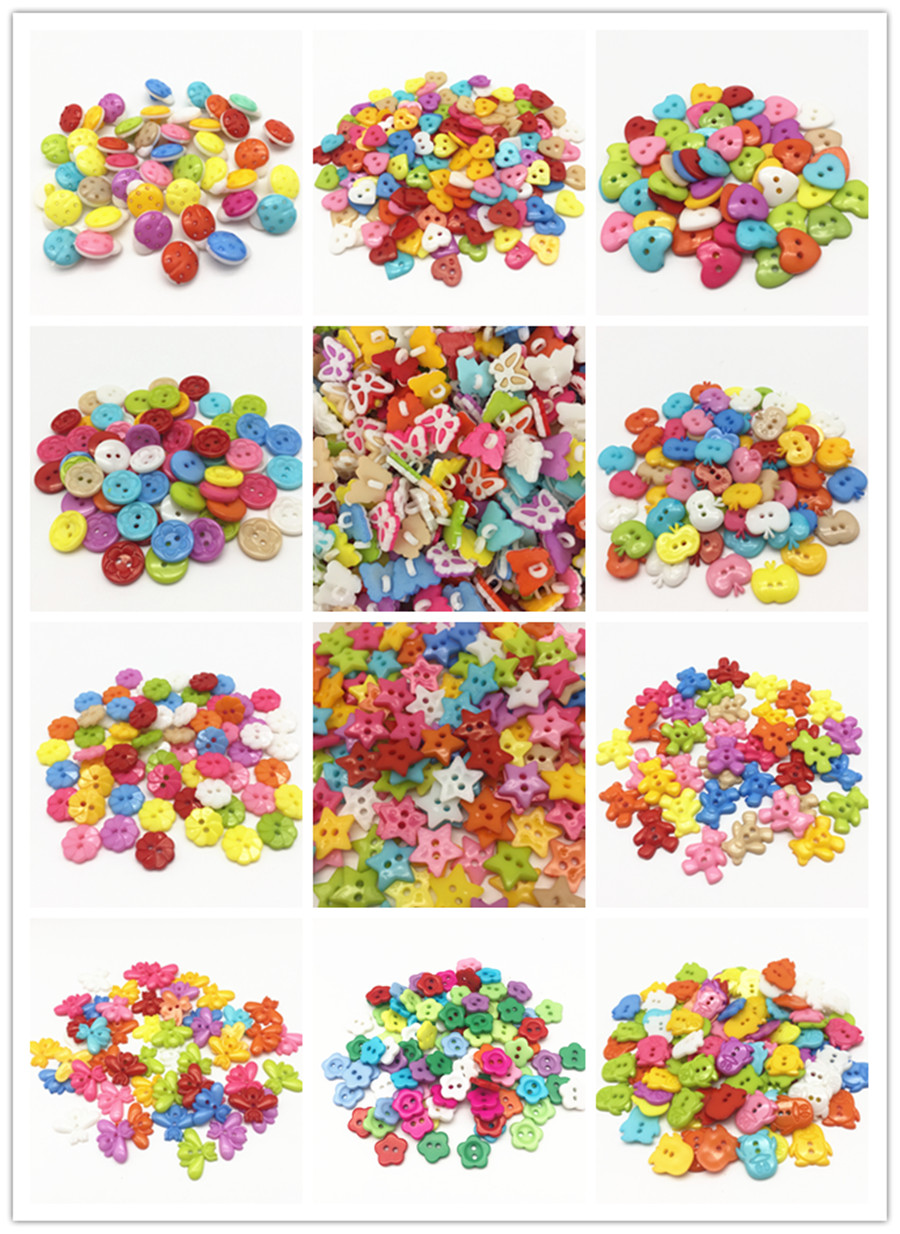 12000pcs Plastic Buttons Sewing DIY Accessories Button Crafts For Scrapbooking 12 Different Patterns Each Pattern 1000pcs