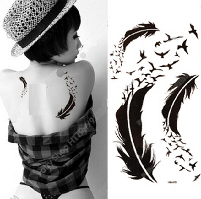 Fashion Women's Waterproof Tattoo Feather Tattoo Ink Fake Tattoo Drawing  Temporary Tattoo Stickers Beauty Make Up Sticker
