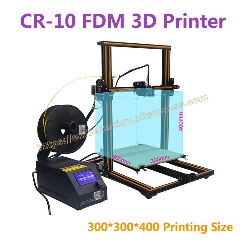 RQ-CR-10 3D Printer large printing size 300*300*400mm DIY desktop 3D printer DIY Kit filament with heated bed +200g material large buid size newest kossel k280 delta 3d printer 24v 400w power with auto level and heat bed two rolls of filament gift