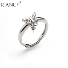 Natural Pearl adjustable Rings Butterfly Zircon  Women DIY Accessories 925 Sterling Silver Parts