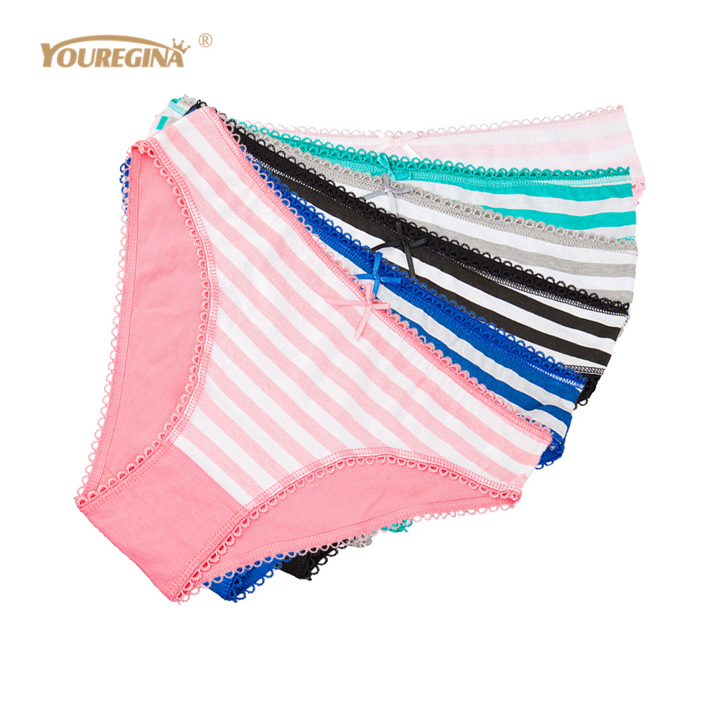 Buy YOUREGINA Cotton Women's Underwear Briefs Sexy Striped Print Low-Rise Panties Plus Size Ladies Underpants Knickers 6 pcs/lot