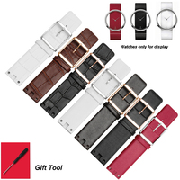 Concave interface bracelet black brown genuine leather watchband 22mm replacement leather strap fit K94231/K9423101/K9423107