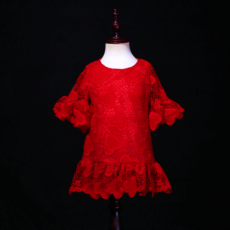 цена customized red heart soft mother daughter princess dress trumpet Sleeve children family clothes kids baby girl summer lace dress